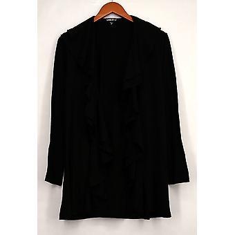 Gramercy 22 Basic Jacket Double Ruffle Cardigan Solid Black Womens A414643