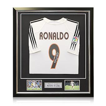 Ronaldo de Lima Signed Real Madrid Football Shirt 2004-05. Framed
