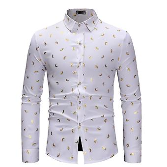 Homens allthemen ' s Bronzing impresso Slim Fit Business casual camisa de manga comprida