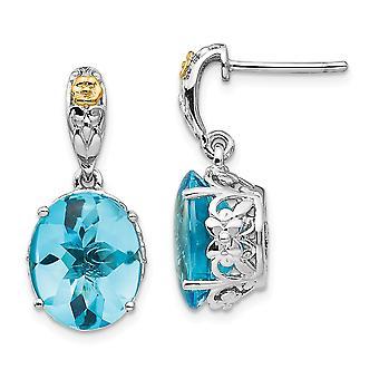 925 sterling silver polerad stift set post örhängen med 14K blå Topaz örhängen