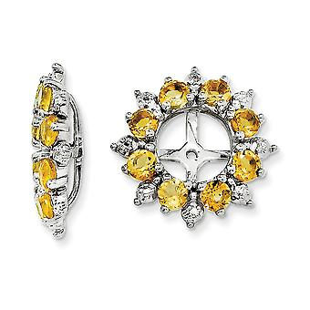 925 Sterling Silver Rhodium-plated Diamond and Citrine Earrings Jacket - .007 dwt .99 cwt