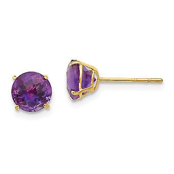 14k Yellow Gold Polished Round Amethyst 6mm Post Earrings Jewelry Gifts for Women