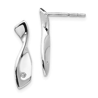 925 Sterling Silver Polished Gift Boxed Post Earrings Rhodium plated White Ice .02ct. Diamond Earrings Jewelry Gifts for