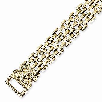 Mässing Fold över mönstrade Kedja 7.5in Armband Smycken Gåvor för kvinnor - 22,5 gram