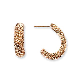 Stainless Steel Rose Gold Flashed Polished Post Earrings IP rose plated Textured J Hoop Earrings Jewelry Gifts for Women