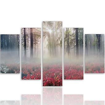 Five Part Picture On Canvas, Pentaptych, Type A, Mist Over The Clearing