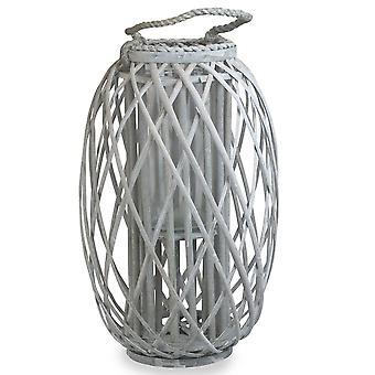 Grey Wash Willow Candle Lantern