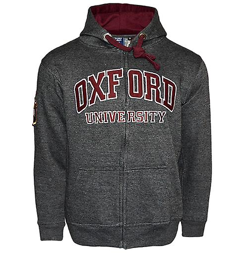 Ou129 licensed zipped unisex oxford university™ hooded sweatshirt charcoal