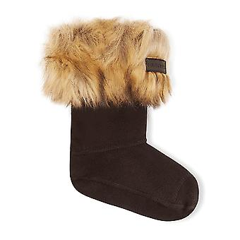 Hunter Kids Faux Fur Cuff Wellington Boot Sock - Tawny