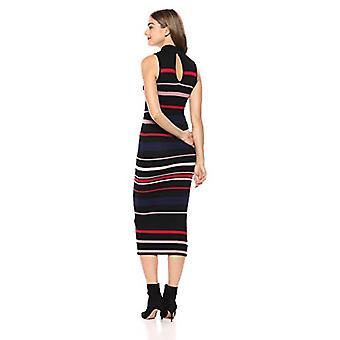 BCBジェネレーション女性'sカラーブロックストライプセータードレス、ブラックコンボ、M