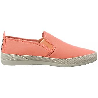 Flossy Orla Espadrille Ladies Canvas Slip On Plimsolls Coral