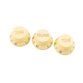 WD Music vervanging Strat Knob Set in crème, USA fit en CTS potten (24 spline)
