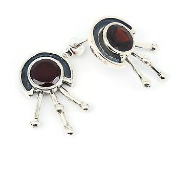 Granat Ohrstecker 925 Silber Sterlingsilber Ohrringe rot (KLE-OS-015)