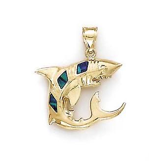 14 k Gold Hai simuliert Opal Inlay Anhänger Halskette Schmuck Geschenke für Frauen