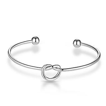 Silver love knot cuff bangle
