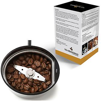 HLix BEANGRIND - Black - Coffee Nut and Spice Grinder with Twin Cutting Stainless Steel Blades 75 G Capacity Stainless Steel Interior with Transparent Lid and Powerful 150W Motor.