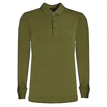 Hugo Boss Casual Hugo Boss Men's Khaki Slim Fit Long Sleeve Passerby Polo