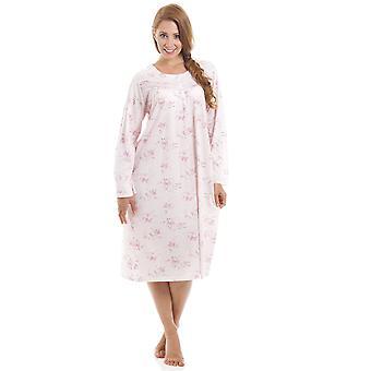 Камиль классический стиль длинные цветочные печати розовый ночная рубашка
