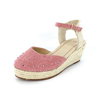 Girls Spot On H6021 Wedge Canvas Sandals