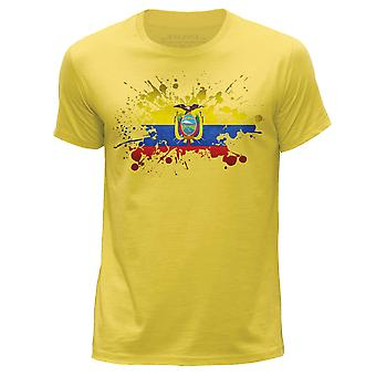 STUFF4 Men's Round Neck T-Shirt/Ecuador/Ecuadorian Flag Splat/Yellow