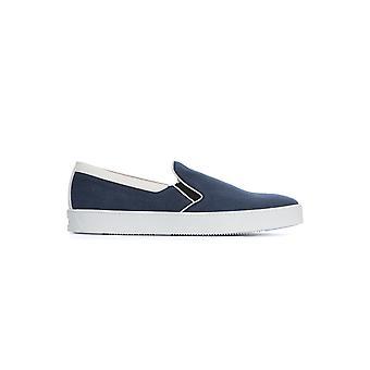 Corneliani 85tm610120926001 Men's Blue Linen Slip On Sneakers