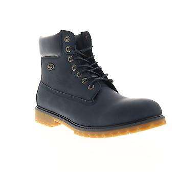 Lugz Convoy  Mens Blue Leather Lace Up Casual Dress Boots Shoes