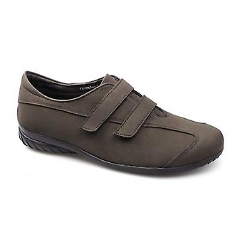 Strollers Thyme Ladies Velcro Wide Fit Casual Suede Shoes Brown