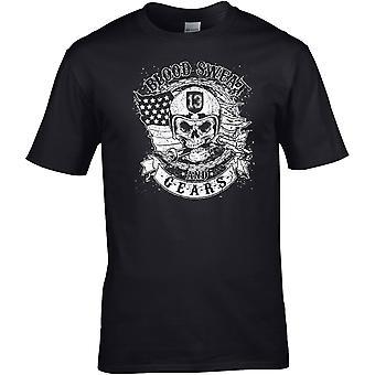 Blood Sweat och Gears Biker - Motorcykel Motorcykel Biker - DTG Tryckt T-shirt