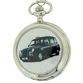 Boxx Gents White Dial Black Taxi Pocket Watch on 12 Inch Chain Boxx63
