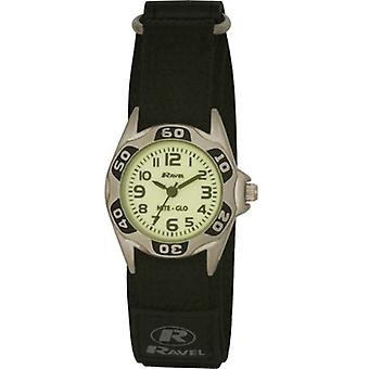Ravel Nite-Glo Black Luminous Dial Black Easy Fasten Strap Boys Watch R1704.3