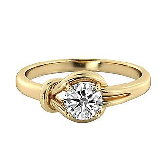 1.15 Carat G SI1 Diamond Engagement Ring 14K Yellow Gold Solitaire Knot 4 prongs