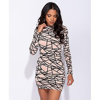 Abstract Print Long Sleeved Mesh Bodycon Dress - - Pink