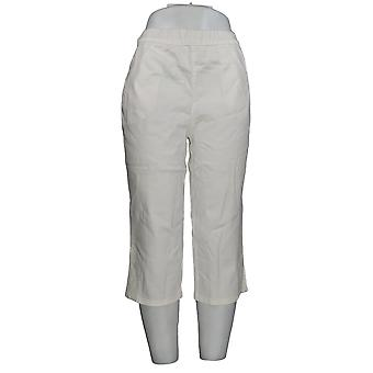 Mujeres y apos;s pantalones Pull-on Stretch Capri pantalones blancoS A288103 #1