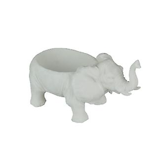 White Sandstone Finish Elephant Decorative Bowl