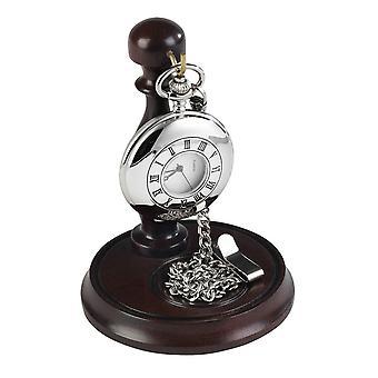 בורג חצי צייד כיס שעון עם סטנד-כסף