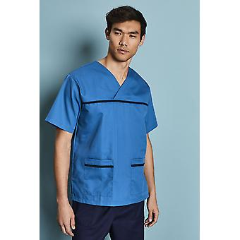 SIMON JERSEY Men's Pull On Scrub Top - Teal With Navy Trim
