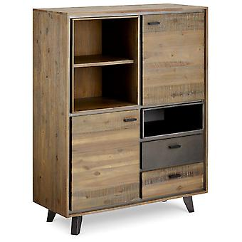 Furnhouse Malaga Highboard, Massive Acacia, 2 Schubladen/ 3 Regale, 100x40x130 cm