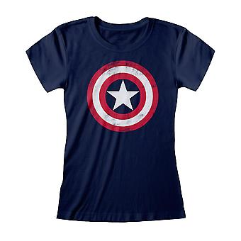 Marvel Avengers Assemble Captain America Distressed Shield Women-apos;s Fitted T-Shirt (fr) Marchandises officielles