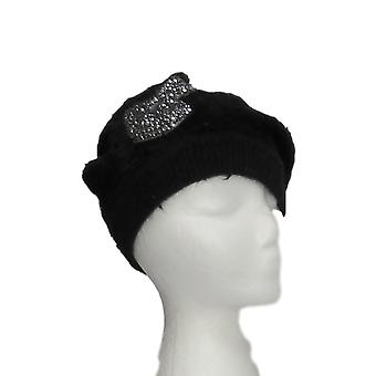 Serengeti Soft Angora Embellished Black Hat