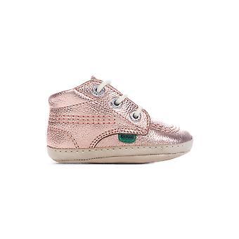 Kickers Kick Hi Baby Patent Leather Infant Kids Girls Crib Shoe Boot Gold