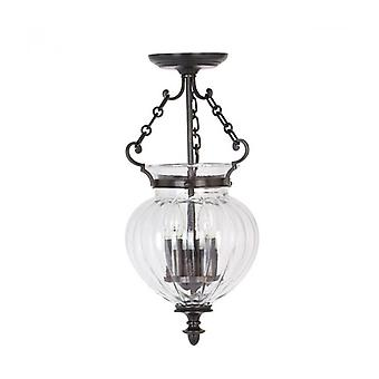 Finsbury Park Pendant Lamp, Polished Nickel And Glass, 22 Cm