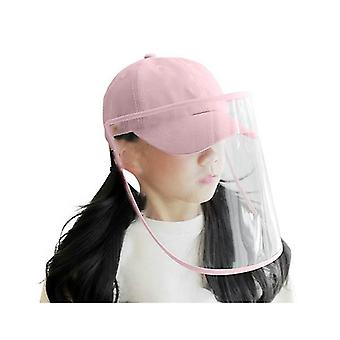 Outdoor Hat Anti Fog Dust Saliva Cap Full Face Shield Cover Kids Pink