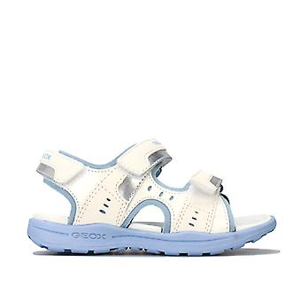 Girl's Geox Junior Vaniett Sandals in White