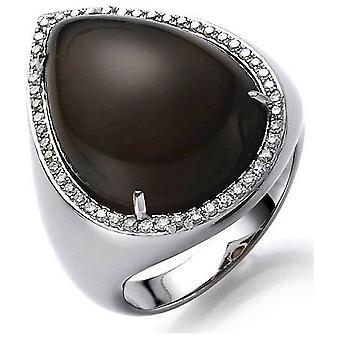 Anello di pietre con anello brillante 750/oro bianco - 0,32 ct.