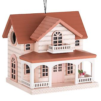 Deluxe handcrafted în aer liber Birdhouse din lemn, Bird-Friendly Perch (Ocean Bungalow Red Roof)