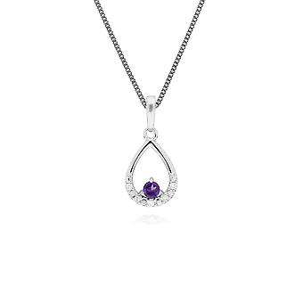 Classic Round Amethyst & Diamond Pear Shaped Pendant Necklace in 9ct White Gold 162P0220049