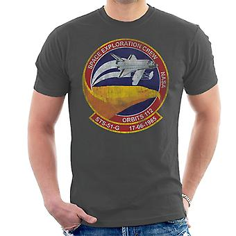 NASA STS 51 G Discovery Mission Badge Distressed Men's T-Shirt