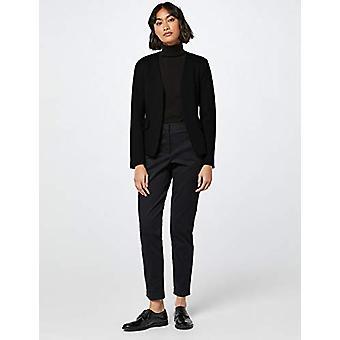 MERAKI Women's Collarless Stretch Jersey Comfort Blazer,  Black, EU M (US 8)