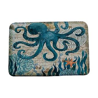 Tapete de tapete de tapete de tapete de porta estilo marinho para sala de estar - Tapete de lã coral, anti