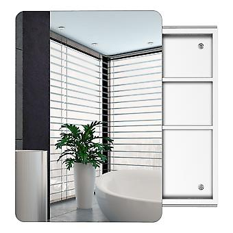 kleankin 66x44cm Curved Bathroom Storage Cabinet w/ Sliding Mirror Door 3 Shelves Stainless Steel Frame On-Wall Unit Home Furniture